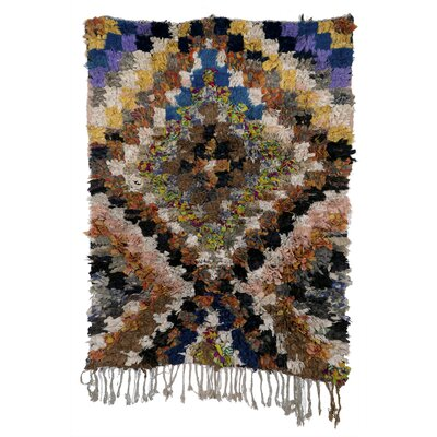 Boucherouite Azilal Hand-Woven Brown Area Rug