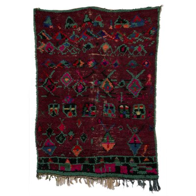 Boucherouite Azilal Hand-Woven Dark/Red Area Rug