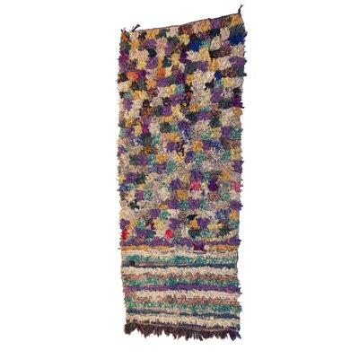Boucherouite Azilal Hand-Woven Purple/Ivory Area Rug