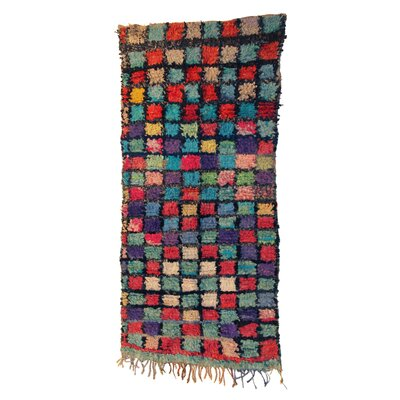Boucherouite Azilal Hand-Woven Red/Green Area Rug