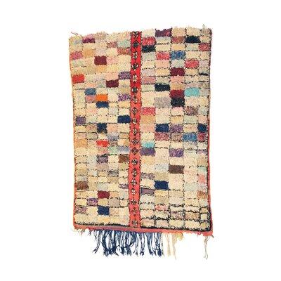 Boucherouite Azilal Hand-Woven Ivory/Blue Area Rug