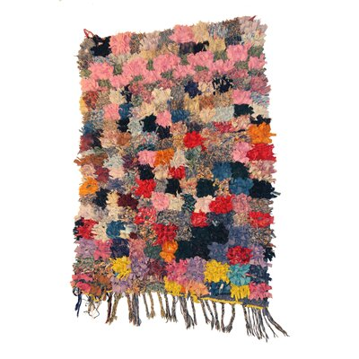 Boucherouite Azilal Hand-Woven Pink/Blue Area Rug