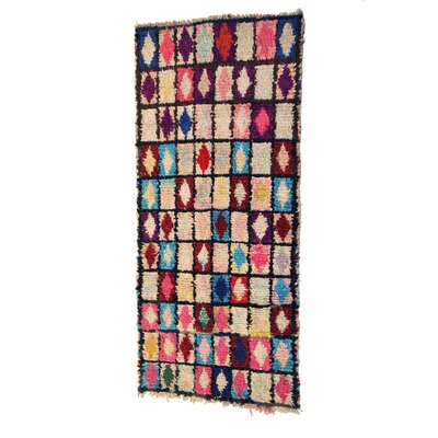 Boucherouite Azilal Hand-Woven Ivory/Pink Area Rug