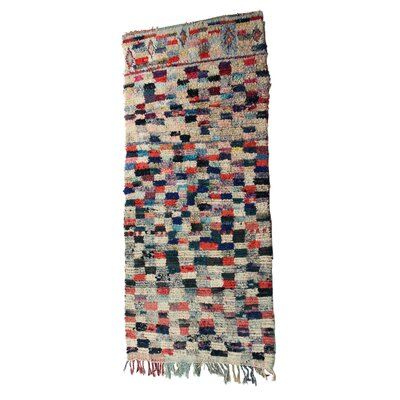 Boucherouite Azilal Hand-Woven Ivory/Navy Area Rug