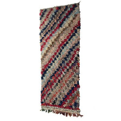 Boucherouite Azilal Hand-Woven Blue/Ivory Area Rug