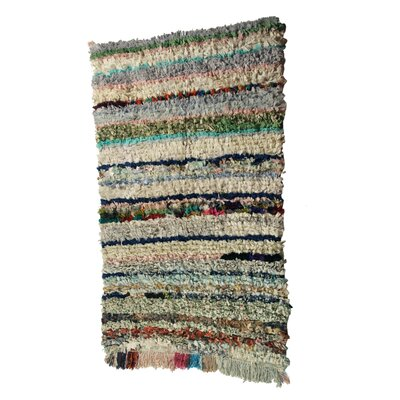 Boucherouite Azilal Hand-Woven Green/Ivory Area Rug
