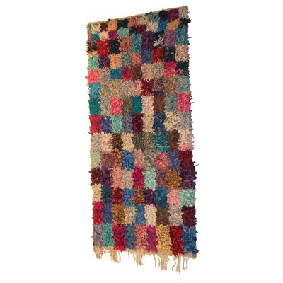 Boucherouite Azilal Hand-Woven Blue/Brown Area Rug