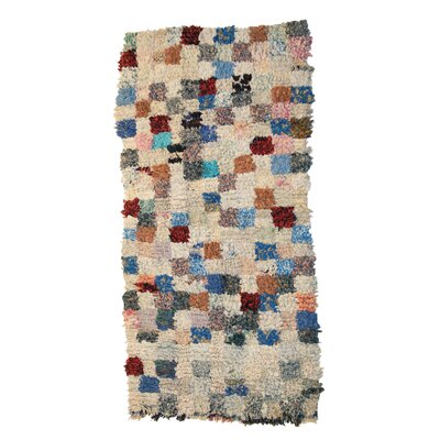 Boucherouite Azilal Hand-Woven Ivory/Blue Area Rug