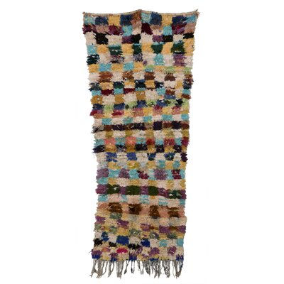 Boucherouite Azilal Hand-woven Orange/blue Area Rug