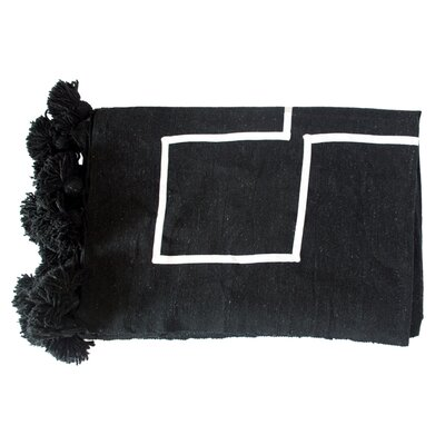 Moroccan Pom Pom Blanket Color: White on Black