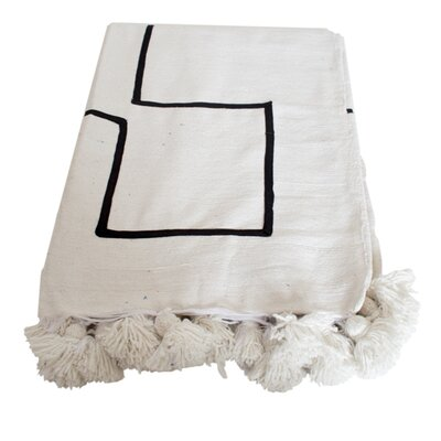 Moroccan Pom Pom Blanket Color: Black on White
