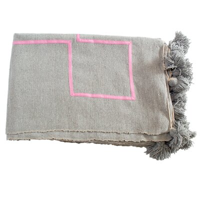 Moroccan Pom Pom Blanket Color: Pink on Grey
