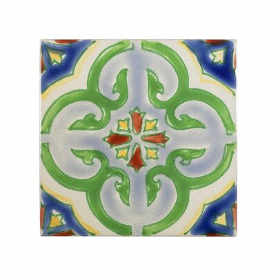 Mediterranean 4 x 4 Ceramic Valencia Decorative Tile in Green/Blue
