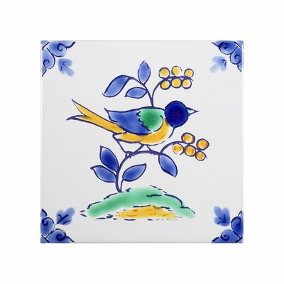 Mediterranean 4 x 4 Ceramic Nightingale Decorative Tile in Blue/Gray