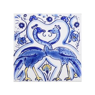 Mediterranean 4 x 4 Ceramic Peacocks Decorative Tile in Blue