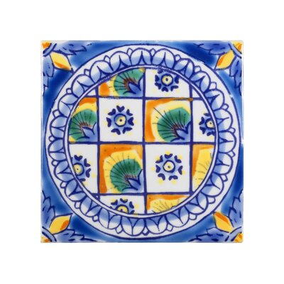 Mediterranean 4 x 4 Ceramic DeRuta Decorative Tile in Blue