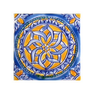 Mediterranean 4 x 4 Ceramic San Paolo Decorative Tile in Blue