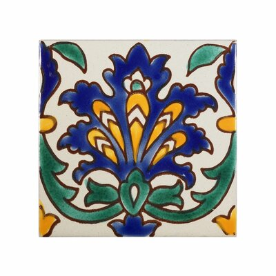 Mediterranean 4 x 4 Ceramic Andalusia  Decorative Tile in Blue