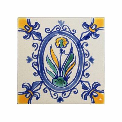 Mediterranean 4 x 4 Ceramic Iris Decorative Tile in Blue/Gray