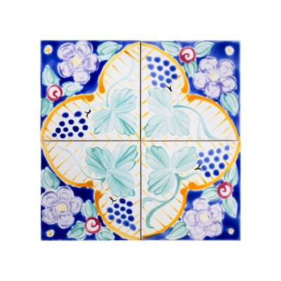 Mediterranean 6 x 6 Ceramic Florence Decorative Tile in Blue