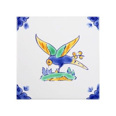Mediterranean 4 x 4 Ceramic Swallow Decorative Tile in Blue