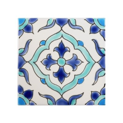 Mediterranean 4 x 4 Ceramic Carthage Decorative Tile in Blue/White