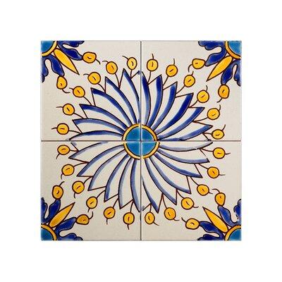Mediterranean 4 x 4 Ceramic Sicily Blue Decorative Tile in Yellow/Blue