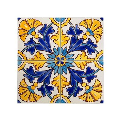 Mediterranean 4 x 4 Ceramic Gibraltar Decorative Tile in Blue/Yellow