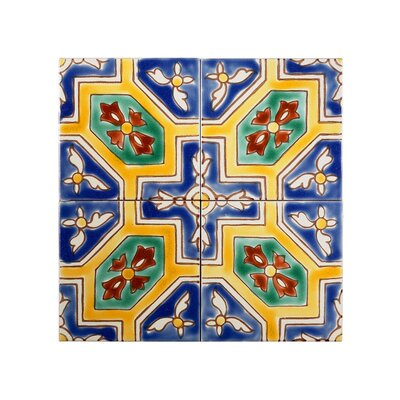 Mediterranean 4 x 4 Ceramic Malta Decorative Tile in Blue/Yellow