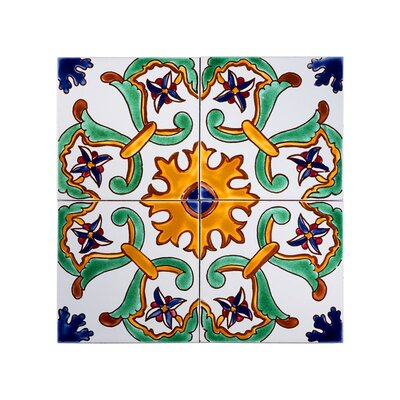 Mediterranean 6 x 6 Ceramic Sicily Decorative Tile in Green/Yellow/Blue