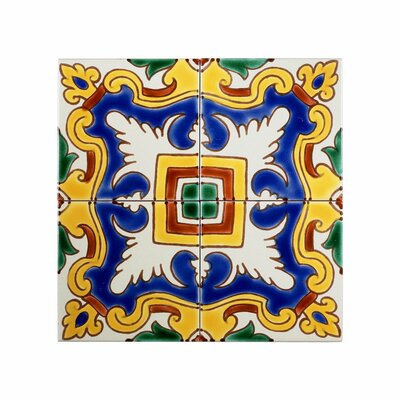 Mediterranean 4 x 4 Ceramic Alicante Decorative Tile in Blue/Yellow