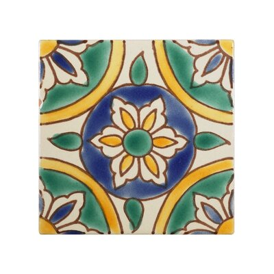 Mediterranean4 x 4 Ceramic Granada Decorative Tile in Green/Yellow