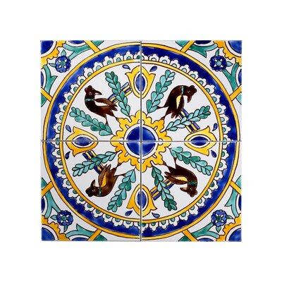 Mediterranean 6 x 6 Ceramic Carthage Mosaic Decorative Tile in Yellow & Blue