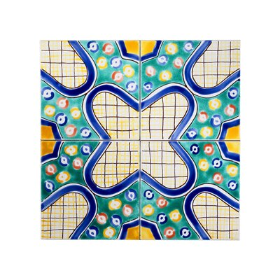 Mediterranean 6 x 6 Ceramic Alhambra Decorative Tile in Blue/Green