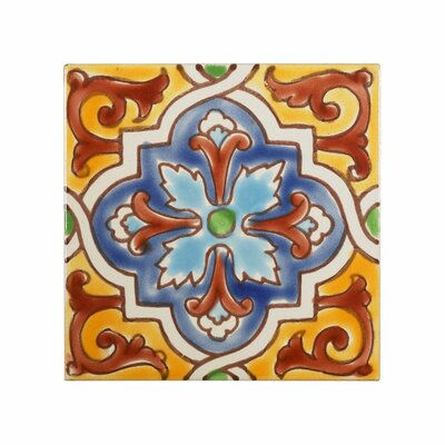 Mediterranean 4 x 4 Ceramic Monaco Decorative Tile in Red/Yellow/Blue