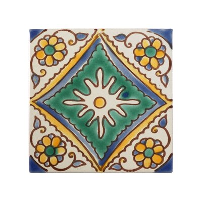 Mediterranean 4 x 4 Ceramic Palma Decorative Tile in Green
