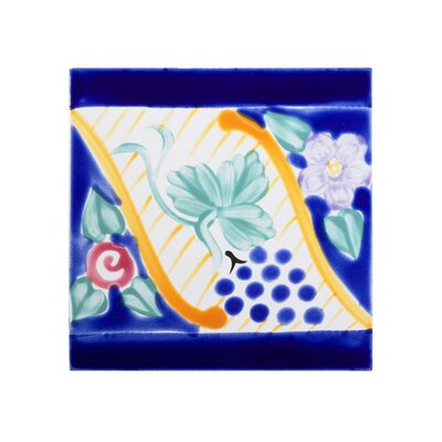 Mediterranean 6 x 6 Ceramic Florence Border Decorative Tile in Blue