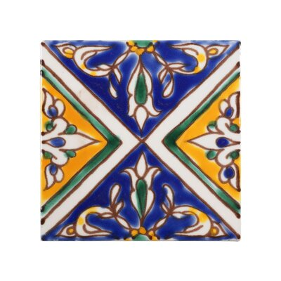 Mediterranean 4 x 4 Ceramic Split Decorative Tile in Blue