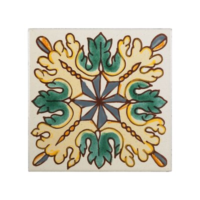 Mediterranean 4 x 4 Ceramic Petra Decorative Tile in Yellow
