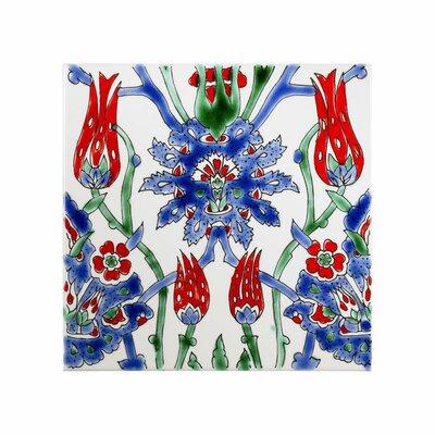 Mediterranean 8 x 8 Ceramic Asphahan Decorative Tile in Blue