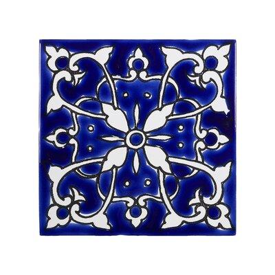 Mediterranean 4 x 4 Ceramic Azur Decorative Tile in Blue/White