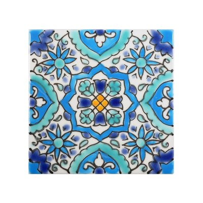 Mediterranean 4 x 4 Ceramic Utica Decorative Tile in Blue