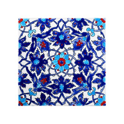 Mediterranean 8 x 8 Ceramic Decorative Tile in Blue