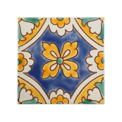 Mediterranean 4 x 4 Ceramic Florence Dux Decorative Tile in Blue/Yellow
