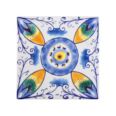 Mediterranean 4 x 4 Ceramic Venzia Decorative Tile in Blue/White
