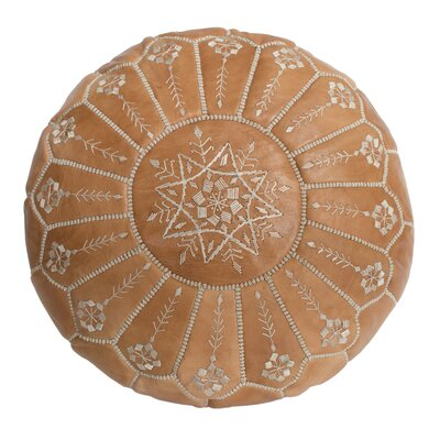 Moroccan Embroidered Leather Ottoman Upholstery: Natural Desert