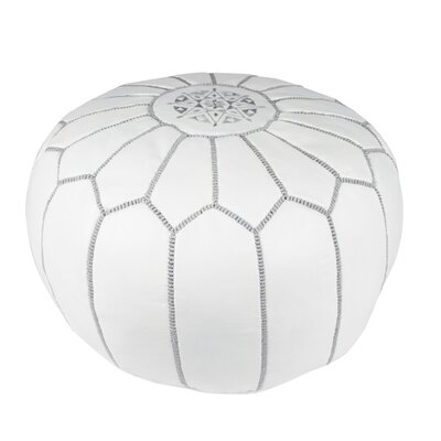 Moroccan Leather Pouf Upholstery: White on White
