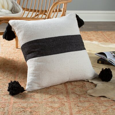 Moroccan Pom Pom Pillows Color: Black on White