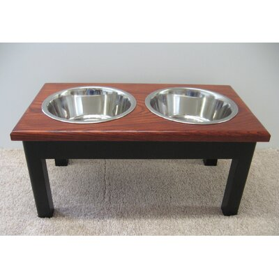 2 Bowl Pet Diner Finish: Espresso Base with Cherry Top