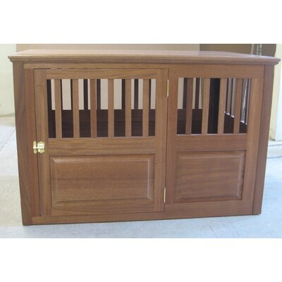 Solid Wood Pet Crate Size: Large (30 H x 29 W x 45 L), Color: Mahogany, Door Location: Side - Right Side